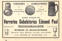 1927 - NEUFVILLES-lez-MONS - Verreries, Globleteries - Edmond PAUL - Dim. 1/2 A4 - Advertising