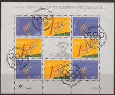 Portugal 1994 100 Years International Olympic Committee (IOC)., Mi 2000-2001 In Minisheet, Cancelled(o) - Gebraucht