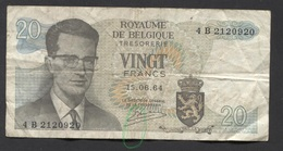 België Belgique Belgium 15 06 1964 -  20 Francs Atomium Baudouin. 4 B 2120920 - [ 6] Schatzamt