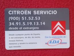 SPAIN TARJETA DE SERVICIO CARD ADA CITROËN CITROEN AÑOS 90 CAR VOITURE AUTO COCHE MARCA VER FOTOS Y DESCRIPCIÓN. ESPAGNE - Otros