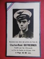 WW2 CHARLES RENE DEFRESNES PILOTE AVIATION FUSILLE PAR LES ALLEMANDS 1944 - Documents
