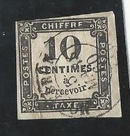 Taxe N°2 - 10 Cts Noir Typo Oblitéré - 1860 - Avec Charnière - 1859-1955 Oblitérés