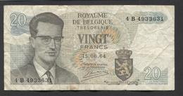 België Belgique Belgium 15 06 1964 -  20 Francs Atomium Baudouin. 4 B 4933631 - [ 6] Schatzamt