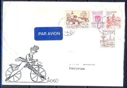 K590- Postal Used Cover. Posted From Czech Republic To Pakistan. Plants. Tree. Building. - Czech Republic