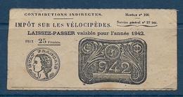 France - Impot Sur Les Vélocipèdes  1942 - Revenue Stamps