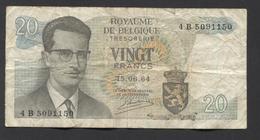 België Belgique Belgium 15 06 1964 -  20 Francs Atomium Baudouin. 4 B 5091150 - 20 Francs