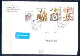 K599- Postal Used Cover. Posted From Czech Republic To Pakistan. Animals. Mushrooms. Building. - Czech Republic