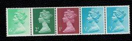 Great Britain 1976 QE2 Coil Strip 6+2+1+1/2+1/2 P   ** MNH - Machins