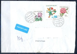 K604- Postal Used Cover. Posted From Czech Republic To Pakistan. Plants. Flowers. Rose. - Other