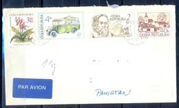 K605- Postal Used Cover. Posted From Czech Republic To Pakistan. Plants. Flowers. Bus. Transport. Building. - Other