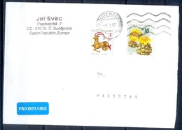K607- Postal Used Cover. Posted From Czech Republic To Pakistan. Flowers. - Czech Republic