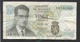 België Belgique Belgium 15 06 1964 -  20 Francs Atomium Baudouin. 4 B 7454329 - [ 6] Treasury