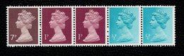 Great Britain 1974 QE2 Coil Strip 7+1+1+1/2+1/2 P   ** MNH - Machins