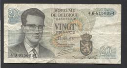 België Belgique Belgium 15 06 1964 -  20 Francs Atomium Baudouin. 4 B 8156094 - [ 6] Treasury