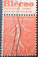 R1934/80 - 1924 - TYPE SEMEUSE LIGNEE - N°199 ☉ BANDE PUBLICITAIRE ☛ BLECAO DEJEUNER LEGER RECONSTITUANT - Advertising