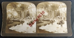 Photo Stéréoscopique. Washington U.S.A.  Pièce Orientale Du White House . Banquet  Prince Henri. - Photos Stéréoscopiques