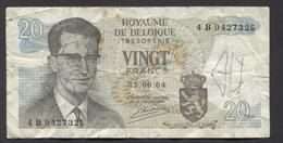 België Belgique Belgium 15 06 1964 -  20 Francs Atomium Baudouin. 4 B 9427325 - [ 6] Schatzamt