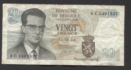 België Belgique Belgium 15 06 1964 -  20 Francs Atomium Baudouin. 4 C 2401937 - [ 6] Treasury