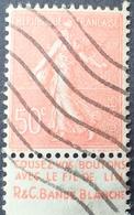 R1934/85 - 1924 - TYPE SEMEUSE LIGNEE - N°199 ☉ BANDE PUBLICITAIRE ☛ COUSEZ VOS BOUTONS AVEC LE FIL DE LIN ...... - Werbung