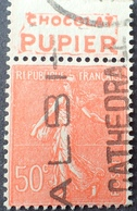 R1934/87 - 1924 - TYPE SEMEUSE LIGNEE - N°199 ☉ BANDE PUBLICITAIRE ☛ CHOCOLAT PUPIER - Werbung