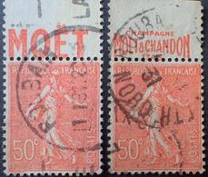 R1934/88 - 1924 - TYPE SEMEUSE LIGNEE - N°199 ☉ BANDE PUBLICITAIRE ☛ CHAMPAGNE MOET ET CHANDON 1743 - Werbung