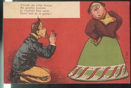 CPA Humour - Voyons Ma P'tite Femme.............Donn'moi De La Galette - Circulée 1904 - Humour