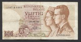België 50 Frank 14-5- 1966 -NO: 1507 A 6465 - [ 6] Tesoreria