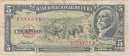 Cuba 5 Pesos 1958 Pk 91 A Ref 609-21 - Cuba