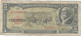 Cuba 5 Pesos 1958 Pk 91 A Ref 609-22 - Cuba