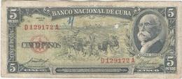 Cuba 5 Pesos 1958 Pk 91 A Ref 609-23 - Cuba