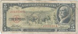 Cuba 5 Pesos 1958 Pk 91 A Ref 34 - Cuba