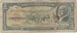 Cuba 5 Pesos 1958 Pk 91 A Ref 609-25 - Cuba
