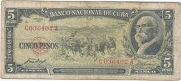 Cuba 5 Pesos 1958 Pk 91 A Ref 609-26 - Cuba