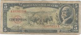 Cuba 5 Pesos 1958 Pk 91 A Ref 37 - Cuba