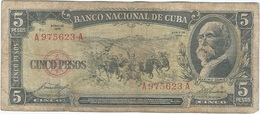 Cuba 5 Pesos 1958 Pk 91 A Ref 609-27 - Cuba