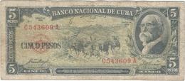 Cuba 5 Pesos 1958 Pk 91 A Ref 609-28 - Cuba
