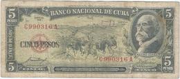 Cuba 5 Pesos 1958 Pk 91 A Ref 609-30 - Cuba