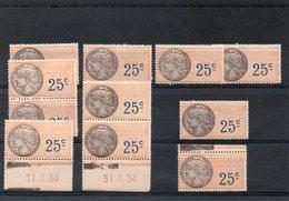 11 Timbres Fiscaux A 25 Cts-coins Datés -31-1-34 X2(XX) - Autres