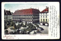 CPA ALSACE-LORRAINE OCCUPÉE- STRASSBURG- PLACE GUTEMBERG EN 1900 COLORISÉE- 2 SCANS - Alsace Lorraine