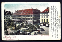 CPA ALSACE-LORRAINE OCCUPÉE- STRASSBURG- PLACE GUTEMBERG EN 1900 COLORISÉE- 2 SCANS - Elsass-Lothringen