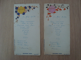LOT DE 2 MENUS  BRASSERIE DOREE PARIS 1934 - Menus