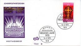 """BRD Schmuck-FDC """"Heiliges Jahr 1975"""", Mi. 834 ESSt 14.2.1975 BONN 1 - FDC: Sobres"""