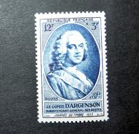 FRANCE 1953 N°940 ** (JOURNÉE DU TIMBRE 1953. LE COMTE D'ARGENSON, SURINTENDANT GÉNÉRAL DES POSTES. 12F + 3F BLEU) - France