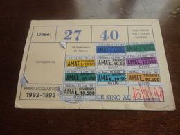 TESSERA ABBONAMENTO AMAT  PALERMO CON MARCHE 1992 - Abbonamenti
