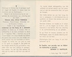 Doodsprentje Edmond Jules Alfred VERBEECK Afgev. Beheerder Brouwerij CAMPINA ° Dessel 1884 + Bevel 1965 - Godsdienst & Esoterisme
