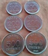 LSJP BRAZIL 6 COINS 100 - 200 - 500 TWO COMPLETE SERIES 1985/1986 UNC - Brazil