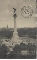 33 ( Gironde ) - BORDEAUX - Monument Des Girondins ( Tampon FRANCHISE MILITAIRE HOPITAL COMPLEMENTAIRE N° 18 ) - Lourdes
