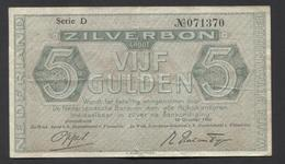 Netherlands 5 Gulden 1944. - Serrie D - NO 071370 - See The 2 Scans For Condition.(Originalscan ) - [2] 1815-… : Regno Dei Paesi Bassi