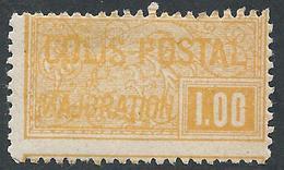 FRANCE - 1918-20 - Colis Postaux - Y.T. N°22 - 1 F. Jaune-orange - Dentelé - Neuf** - TTB - Colis Postaux