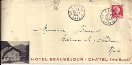 """74 - HAUTE SAVOIE - CHATEL - TàD De Type B6 De 1959 + ENTETE """"HOTEL BEAUSEJOUR"""" - Marcophilie (Lettres)"""